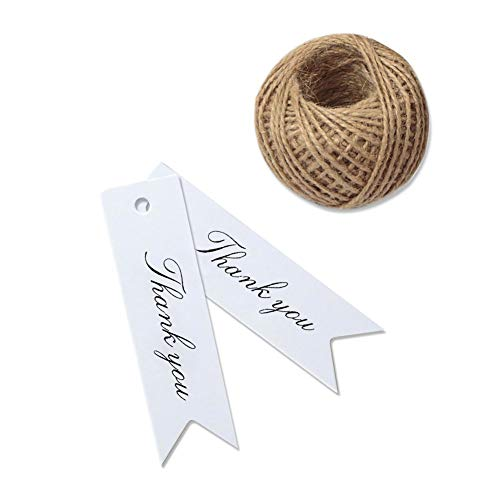 Thank You Tags, G2PLUS 100 PCS White Gift Tags with String, Paper Hang Tags, Kraft Paper Gift Tags with 100 Feet Jute Twine for Arts and Crafts,Wedding, Christmas, Thanksgiving ()