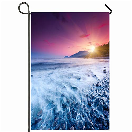 Ahawoso Seasonal Garden Flag 12x18 Inches Lagoon Paradise Majestic Summer Sunset Over Sea Dramatic Nature Quay Sky Parks Bay Beach Cloud Coast Home Decorative Outdoor Double Sided House Yard Sign