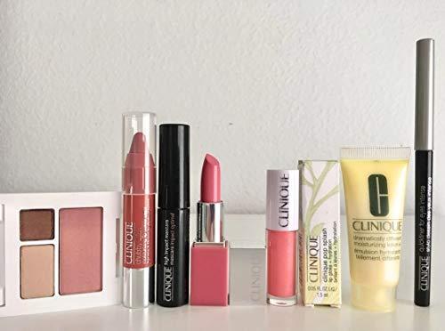 Clinique 7 Piece Makeup & Skin Care Set with Mascara, eyeliner, lipstick, lip gloss, moisturizer, blush, eye shadow, travel friendly -