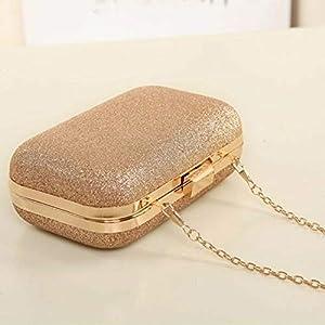 Women Glitter Chain Handbag Coin Purse Clutch Box Evening Party Hand Bags Wallet (Color - Gold)