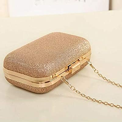 Women Glitter Chain Handbag Coin Purse Clutch Box Evening Party Hand Bags Wallet (Color - Gold)