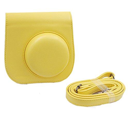 Ajusen PU-Leder Kameratasche mit Schultergurt und Tasche für Fujifilm Instax Mini 8 Instant Camera (Gelb) Gelb jDREeUqxXE