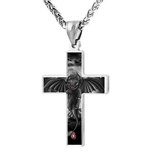 Patriotic Cross Night Fury Dragon Religious Lord'S Zinc Jewelry Pendant (Toothless Costume Videos)