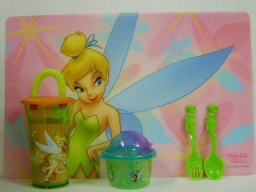 - Cute Tinker Bell Placemat Matching Cup,snack Container and Flatware