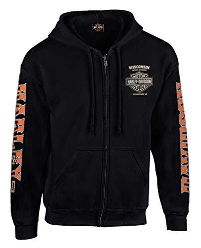 Harley-Davidson Men's H-D Rider Skull Zip-Up Fleece Hoodie - Solid Black (L)