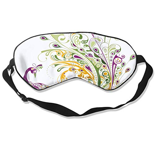 Peacock Tattoo Clipart Silk Funky Sleeping Eye Mask Flexible & Breathable Eyeshade with Adjustable Strap