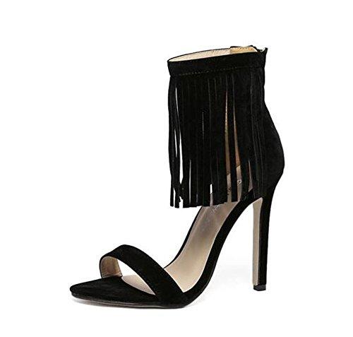 Women's Ankle Strap Stiletto High Heel Dress Sandals (Black-35/4 B(M) US Women) ()