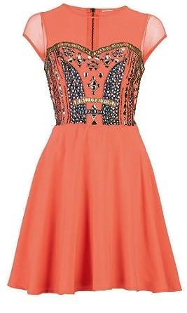 Love Label Coral Embellished Prom Dress Size 14