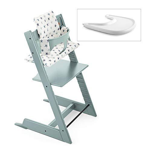 Stokke 2019 Tripp Trapp High Chair Complete Bundle, Aqua Blue with Aqua Star Cushion and White Tray