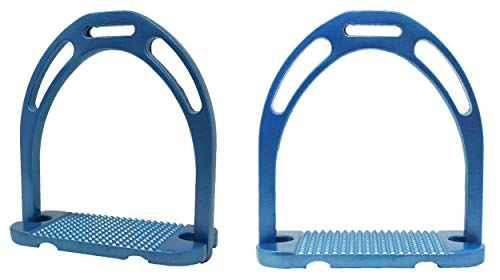 CHALLENGER Horse Saddle 4-3/4″ Wide English Lightweight Aluminum Iron Stirrups Blue 51114SB