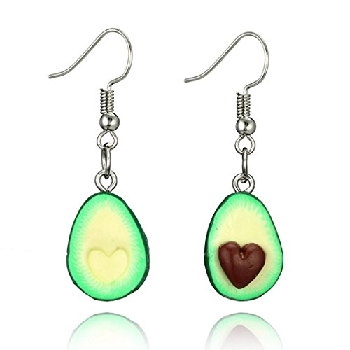 Hatoys Miniature Food Green Avocado Friendship Jewelry Earrings (Green)