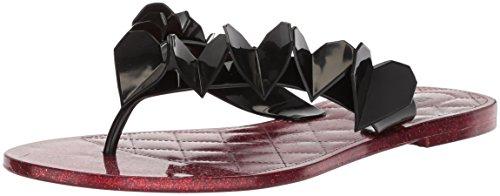 (Nine West Women's NORICAH Synthetic Flip-Flop, Black, 7 Medium US)