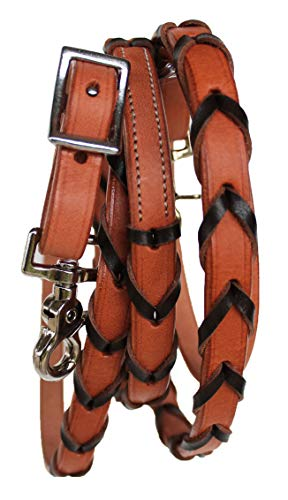 PRORIDER Horse Western Tack 8ft Contest Laced Barrel Leather Rein w/Snaps 6639