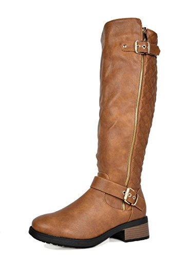 DREAM PAIRS Women's Knee High Riding Boots (Wide-Calf Available) Camel