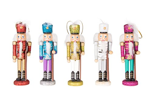 Clever Creations Wooden Glitter Nutcracker Ornament Set Christmas Nutcrackers in Red, Blue, White, Yellow and Pink | Perfect for Any Christmas Tree | String Hangers Included | 5 Pack | 6