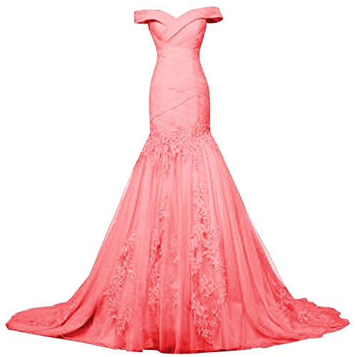 Bess Dresses Prom Up Evening Shoulder Mermaid Lace Tulle Bridal Lace Watermelon Womens Off BUx1rwBTq8