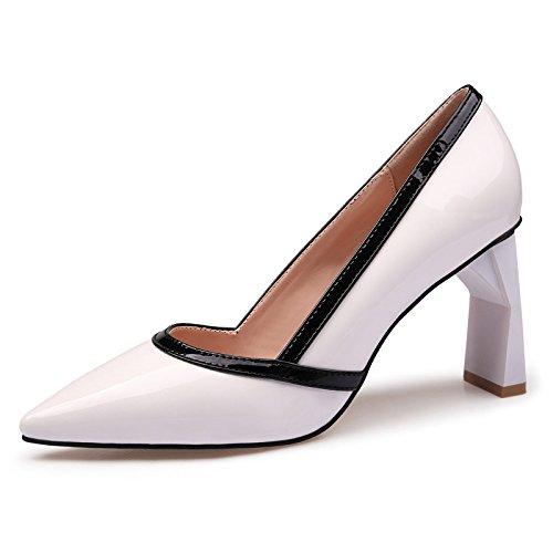 con de mostrar Light el pintada Tipped grueso mujer cuero Heeled de High blanco hembra 35 zapatos zapatos y solo Simple pq8B11