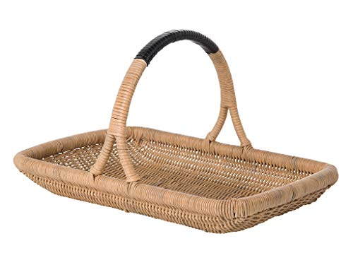 Kouboo Vegetable and Flower Wicker Leather Wrapped Arch Handle, Natural Color Decorative Storage Basket, One Size, Brown Brown Leather Wrapped Handles