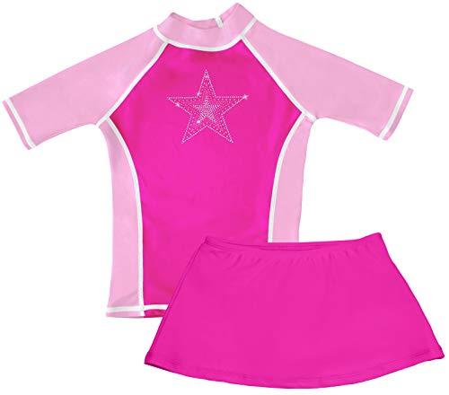 - grUVywear Girls Short Sleeve UPF 50+ Rash Guard and Bikini Skirt Swimsuit Set (Pink Star, Medium 7/8)