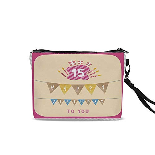 15th Birthday Decorations Female Cosmetic Bag,Pastel Colored Framework Flags Presents and Candles Greeting For Women Girl,9