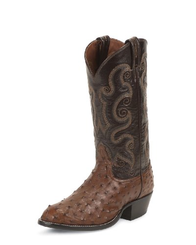 Tony Lama Men's Full Quill Ostrich Cowboy Boot Round Toe Coffee 12 (12 Ostrich)