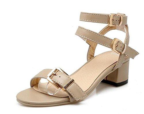 GLTER Mujeres Ankle Strap Bombas Hebilla de cinturón con sandalias Sandalias Side Empty Straps Court Shoes khaki