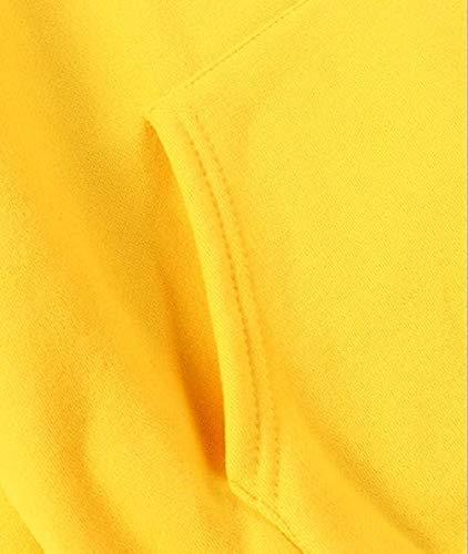 Qianqian-au Mode Solide Sweat-shirt De Poche De Cordon De Serrage Manches Longues Hommes Jaune