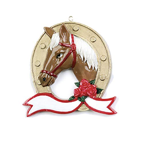 Personalized Horse-Shoe Christmas Tree Ornament 2019 - Beautiful Jockey Wreath Trail Lesson Teacher Race Sport Active Equidae Wood Barrel Ranch Brown Gold Farm First Boot Year - Free Customization