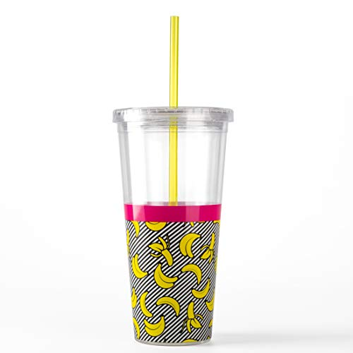 - Mustard M12042 Banana Double Wall Plastic Straw Cup, 20oz, 568ml, Large,