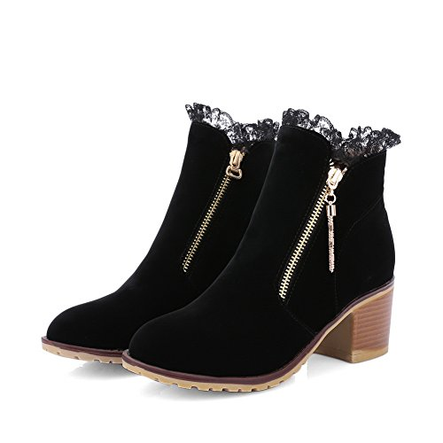 Zipper Heels Round Boots Frosted Ladies Toe 1TO9 Black Chunky wSqxHCEt