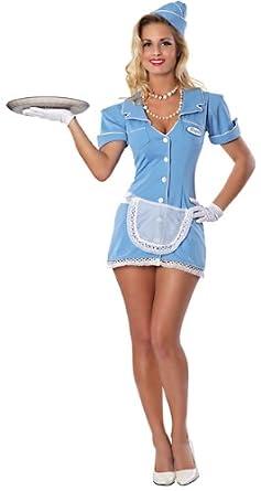 Delicious Check Please Sexy Waitress Costume  sc 1 st  Amazon.com & Amazon.com: Delicious Womenu0027s Check Please Waitress Costume Blue ...