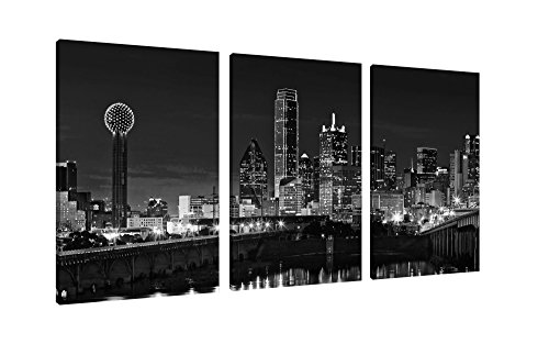 NAN Wind 3 Pcs Wall Art Beautiful Dallas Tx Skyline Black & White Canvas Art Paintings For Room Decor Cityscape Skyscrapers Night Scene Picture Prints On Canvas For Home Decor Modern Giclee Framed