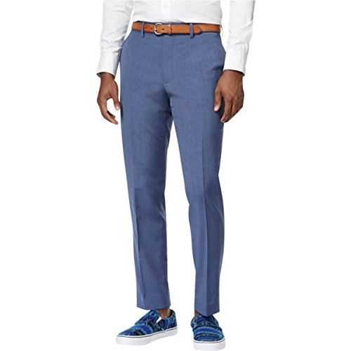 Bar III Slim Fit Dusty Blue Solid Flat Front Wool New Men's Dress Pants (40W x 32L) - New Wool Pants