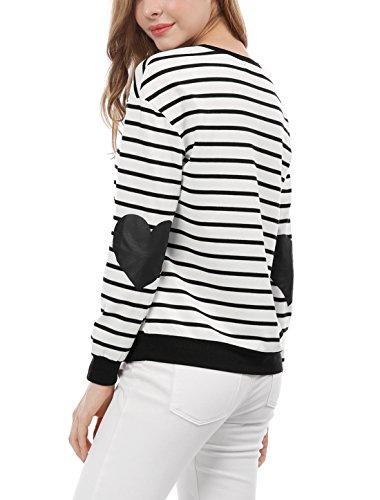 Discount Allegra K Women's Elbow Patch Contrast Stripes Heart Prints Top for cheap