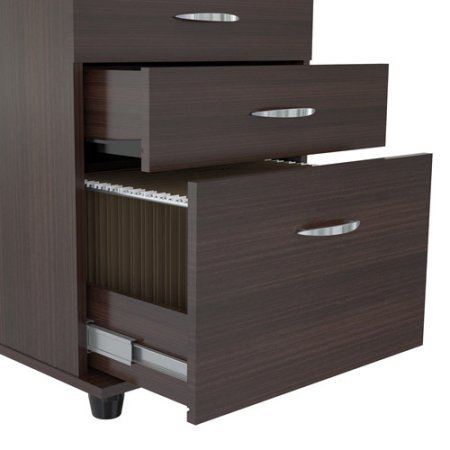 3-Drawer Office Cabinet, File and Documents Organizer, Casters for Easy Mobility, Large Storage Space, Locking System on All Drawers, Desk Furniture, Perfect Home or Work Office