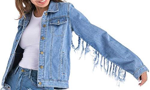 Alla Autunno Libero Donne Sciolto Cappotto Tendenza Tempo Jeans Stile Forti Donna Giacca Primaverile Battercake Outerwear Lunghe Casuale Coat Blau Maniche Eleganti Tassels Taglie Moda 3A4LqR5j
