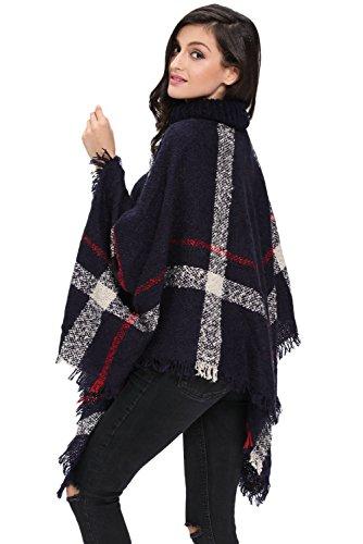 Nuovo blu navy da donna Dolcevita poncho Tassel Cape cappotto giacca invernale Wear jumper taglia EU 10–20