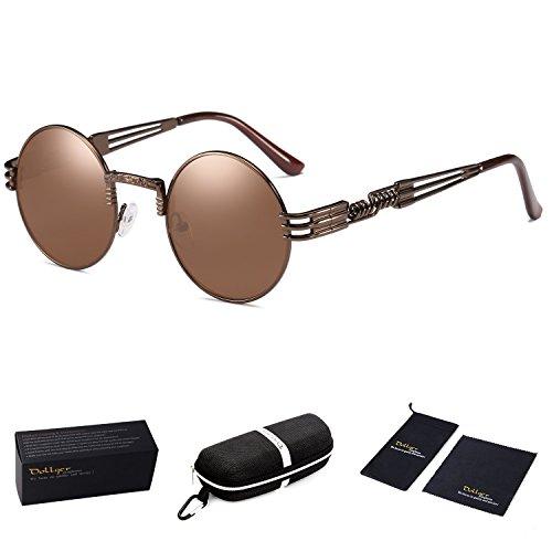 Brown Lenses Frame Mirror - Dollger John Lennon Round Sunglasses Steampunk Metal Spring Frame Mirror Lens (Brown Lens/Brown Frame, 100% UV Protection)