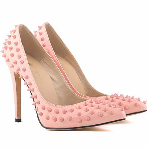 Pumps Heels Beverly Size Sexy Women 35 42 Spring Big Wedding Stewart Patent High Pumps Toe Rivets Pointed Pink Shoes wqOwgXr