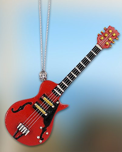 BANBERRY DESIGNS Guitar Ornament - Red Electric Guitar - Semi-Acoustic - 3 3/4