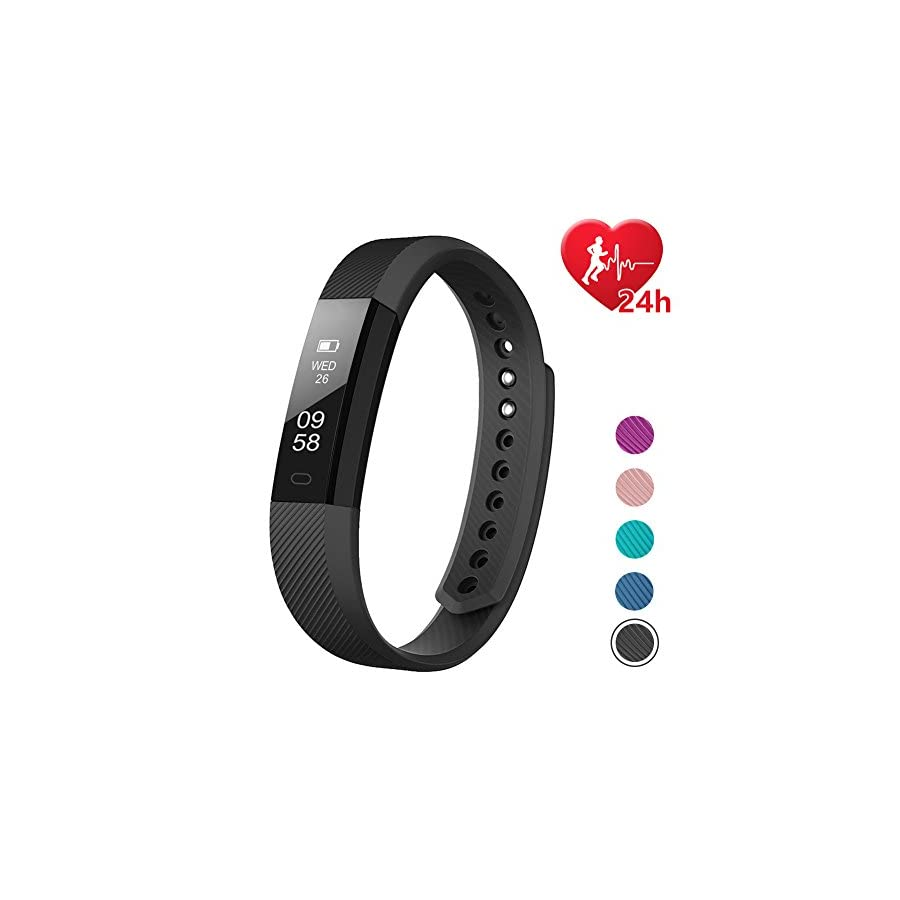 LETSCOM Fitness Tracker HR, Activity Tracker with Step Counter and Calorie Counter Watch Pedometer, Slim Heart Rate Monitor Watch for Kids Women Men