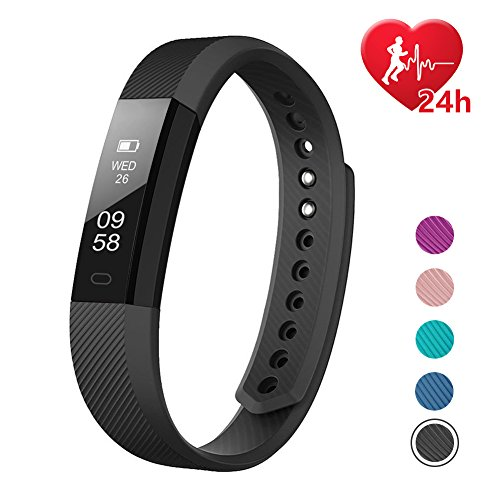 Large Product Image of LETSCOM Fitness Tracker, Fitness Tracker Watch with Heart Rate Monitor,Slim Touch Screen and Wristbands, Wearable Waterproof Activity Tracker Pedometer,Black for Android and iOS
