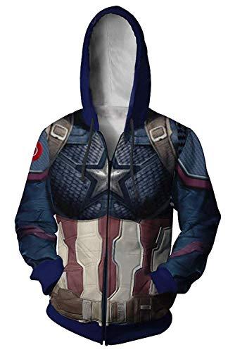Superhero CA Hoodie Halloween Cosplay Zip Up Sweatshirt Mens Jacket Coat S]()