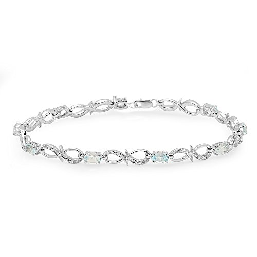 Sterling Silver Real Oval Cut Genuine Blue Topaz & Round White Diamond Link Bracelet - Genuine Blue Topaz Link Bracelet