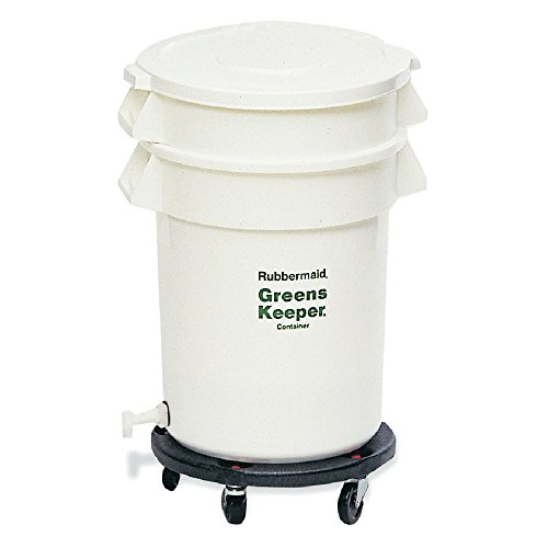 Rubbermaid 20 gal White Plastic Greenskeeper With Dolly and Lid - 22 1/2 Dia x 33 1/2 H