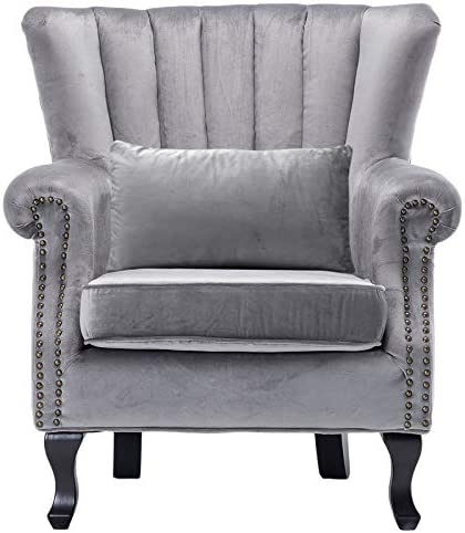 Accent Chair Grey Velvet Wingback Arm Chair