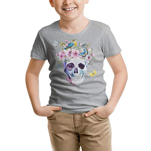 - RFTER Watercolor Skull with Butterfly Children T-Shirts Grey Cotton Jersey Short Sleeve