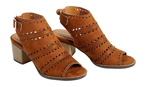 maurices Women's Reese Open Toe Laser Cut Heel 7 1/2 Chestnut