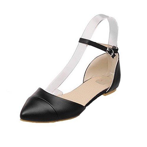 AalarDom Mujer Hebilla Puntera Cerrada Mini Tacón Pu Sólido Sandalias de vestir Negro(1cm)