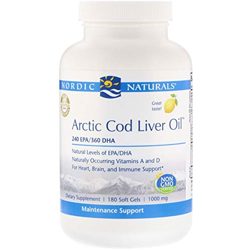 (Nordic Naturals Pro Arctic Cod Liver Oil- 100% Wild Arctic Cod Liver Oil, 240 mg EPA, 360 mg DHA, Support for Heart, Brain, and Immune Health*, 180 Soft Gels)